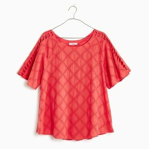 Madewell Women's Embroidered Lattice Top Red L